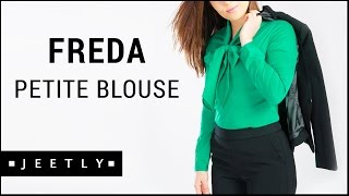 Petite pussybow blouse - Freda green blouse by Jeetly