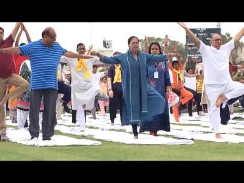 Rajasthan government CM vasundra raje yoga action in SMS stadium on world yoga day