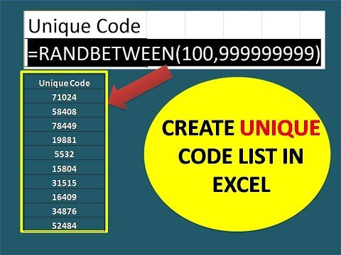 How to create a Unique code in excel/How to generate random character  strings in a range in Excel