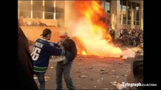 Ice Hockey fans riot in Vancouver as the Canucks lose Stanley C