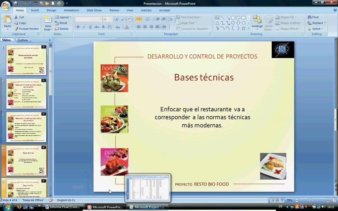 Presentaci n del proyecto restaurante de la comida for Proyecto restaurante pdf