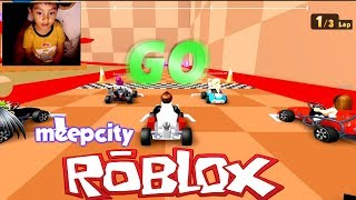 PLAYING MeepCity Racing in ROBLOX in the style of Mario Kart