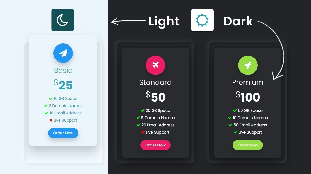 How To Toggle Between Dark and Light Mode | Responsive Pricing Table with CSS & JavaScript