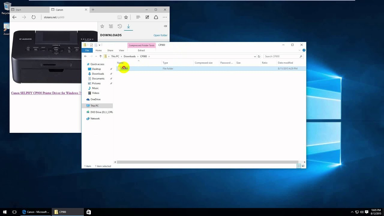 How to install CANON SELPHY CP900 on Windows 10 64bit