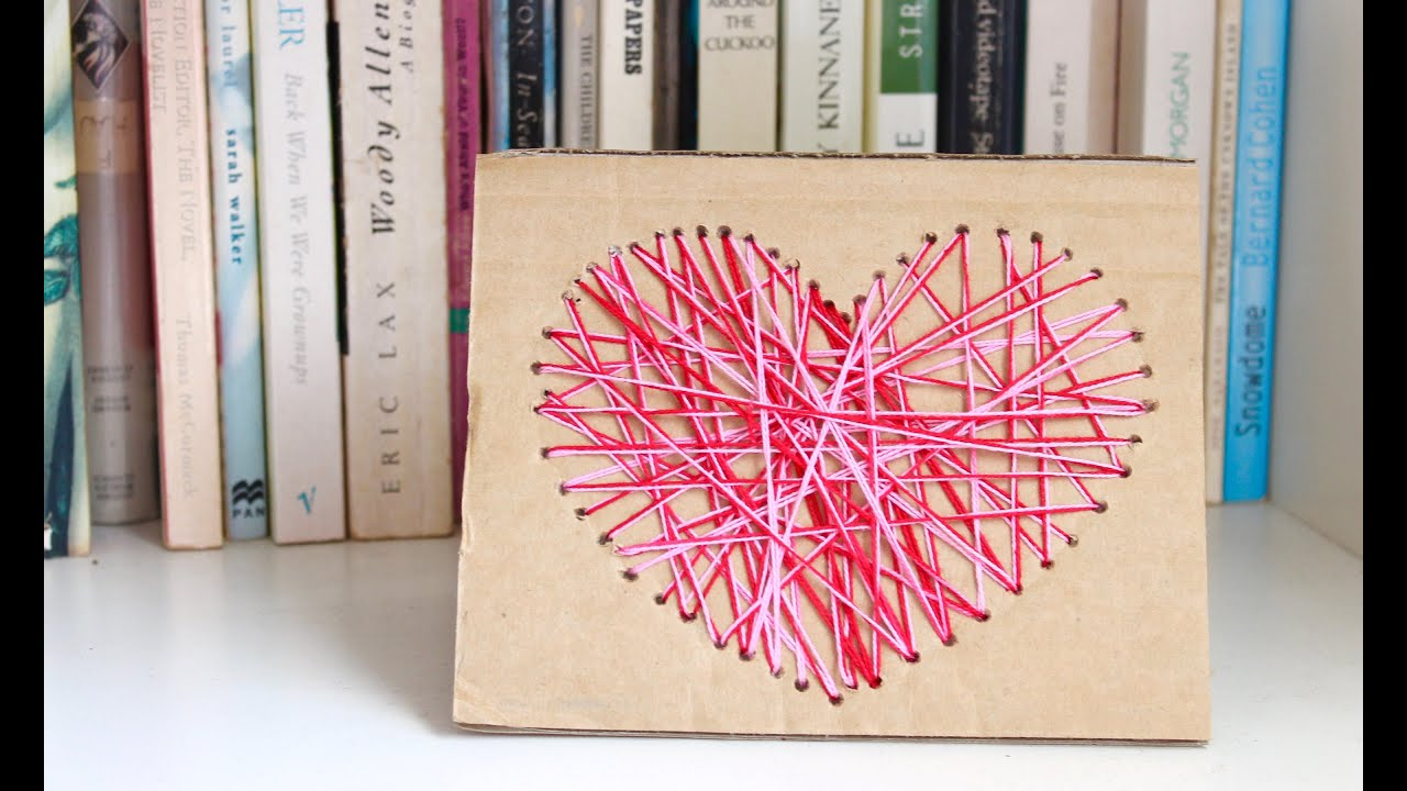 Easy homemade card idea how to make a yarn heart card for Things to do on mother s day at home