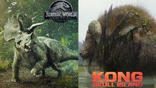 Triceratops vs Sker Buffalo - Island Monster Battle - Jurassic World vs Kong Skull Island