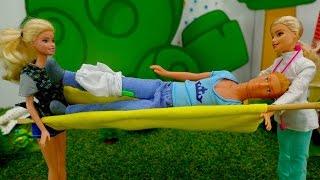 Куклы: БАРБИ и КЕН пошли в поход. КЕН СЛОМАЛ НОГУ. Видео для девочек. Игрушки видео(Детский канал