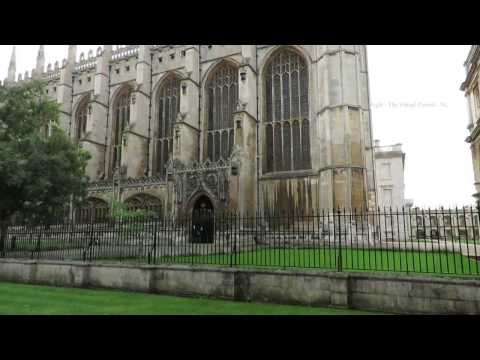 Walk around outside of Clare College and King's College in Cambridge England