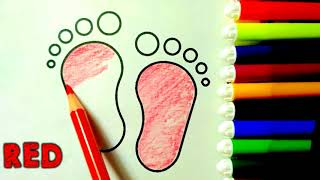 how to draw Footprint and babybuggy colouring|baby Carring draw easy step by step tutorial