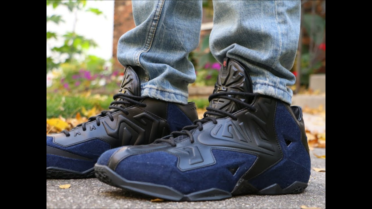 669dfb7cc1703 Nike LeBron 11 EXT Denim - On Foot - YouTube
