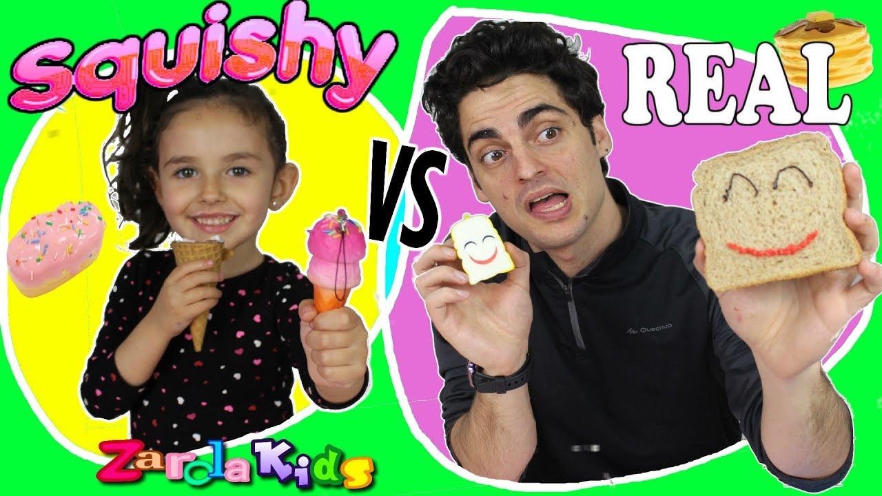 Squishy Versus Real Challenge : SQUISHY FOOD VS. REAL FOOD CHALLENGE!!! squishies Zarola kids - YouTube