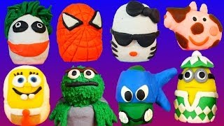 134 PLAY DOH Kinder Surprise Eggs Peppa Spongebob Superheroes Play-Doh Mix by DisneyCarsToyClub