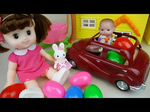 Thumbnail: Baby doll car toys and surprise eggs house park play