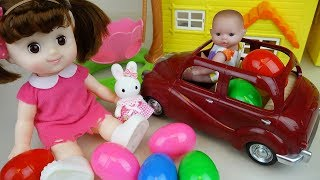 Baby doll car toys and surprise eggs house park play