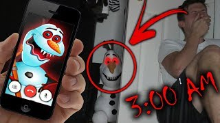 CALLING OLAF FROM FROZEN ON FACETIME AT 3 AM!! *DO NOT TRY THIS* (HE TRAPPED ME IN THE CLOSET!)