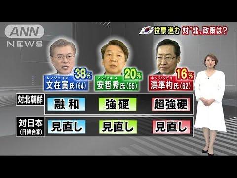 韓国大統領選の投票進む 優勢文氏、リベンジなるか(17/05/09)