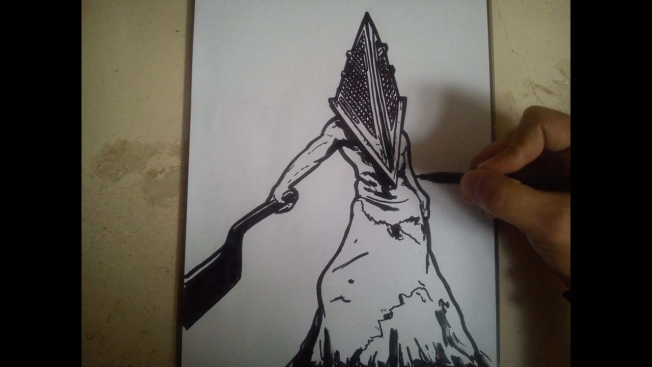 COMO DIBUJAR A CABEZA DE PIRAMIDE  SILENT HILL  how to draw