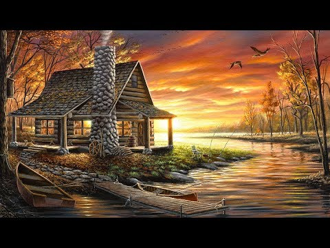 Landscape Painting Time-lapse   Lake Cabin at Sunset