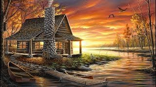 Landscape Painting Time-lapse | Lake Cabin at Sunset
