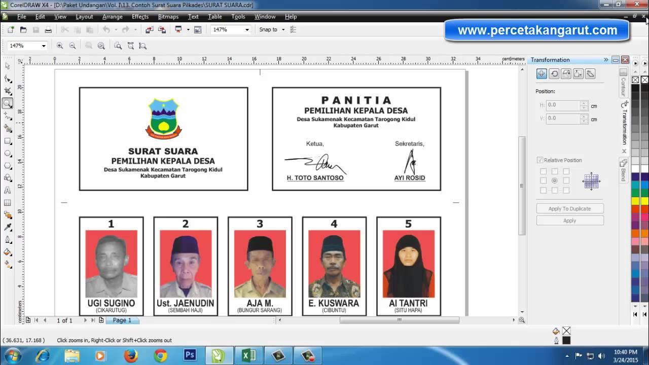 Cetak Kartu Surat Suara Pemilihan Kepala Desa Pilkades Di Garut