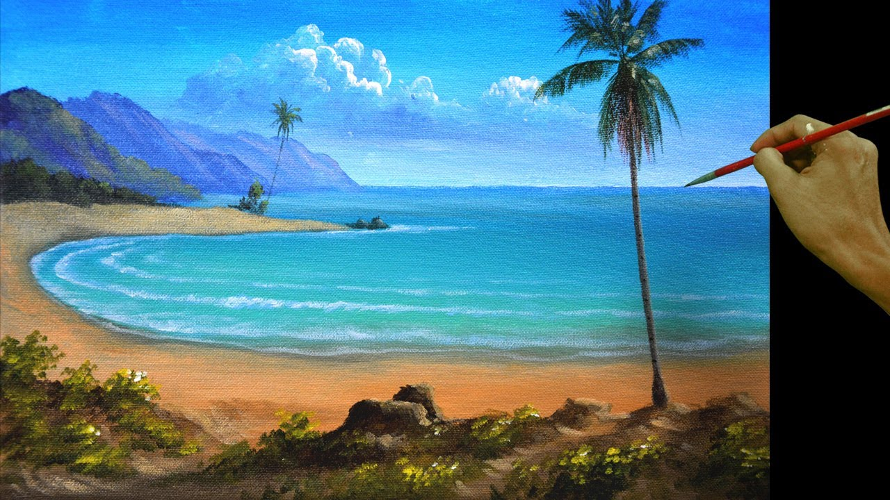 how to paint a tropical beach with palm trees in acrylic by jm