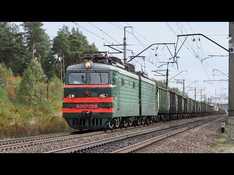 Поезда на перегоне Авсюнино-Шатура. Чихнувшая электричка, шестиосные контейнеровозы, длинные поезда.