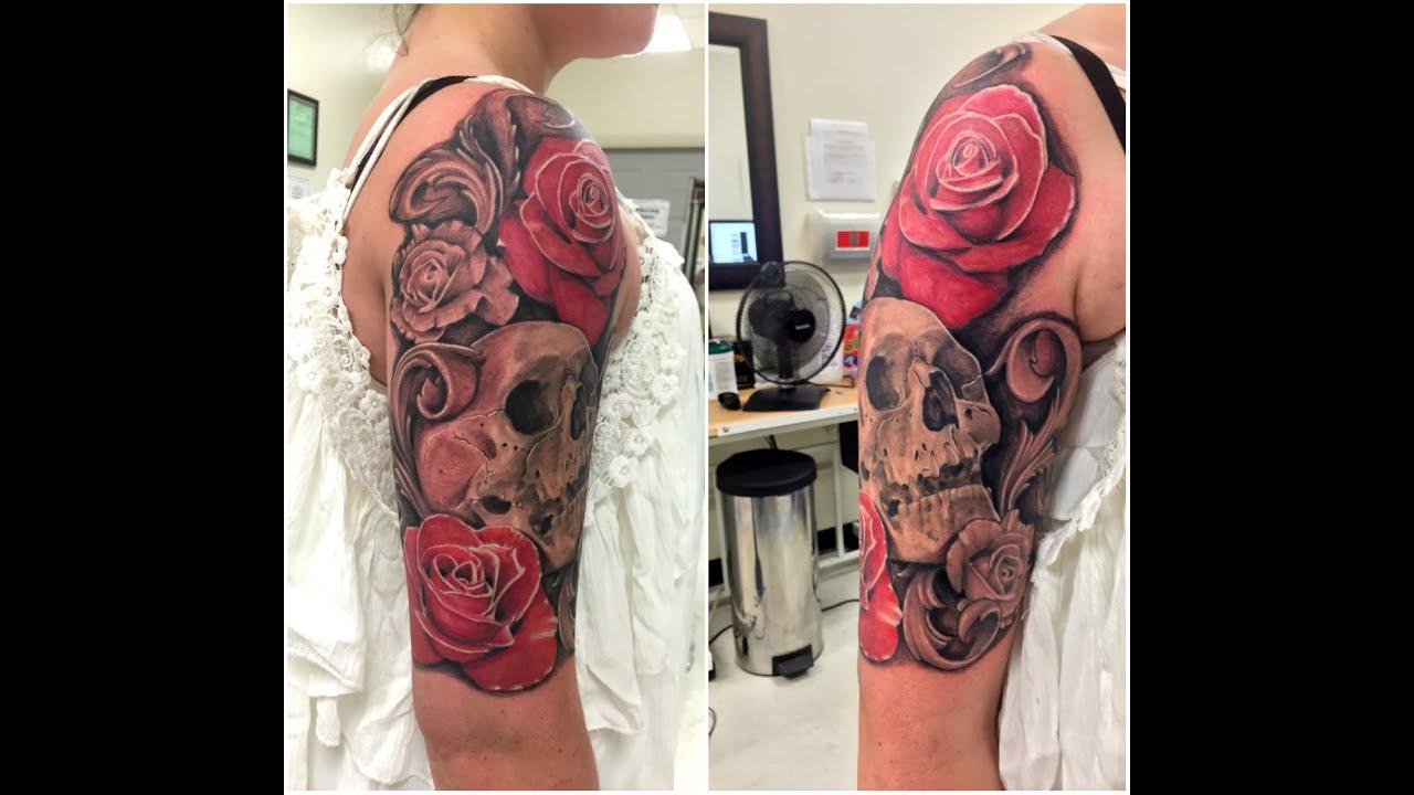1 2 sleeve tattoo skull rose images for tatouage for 1 4 sleeve tattoo