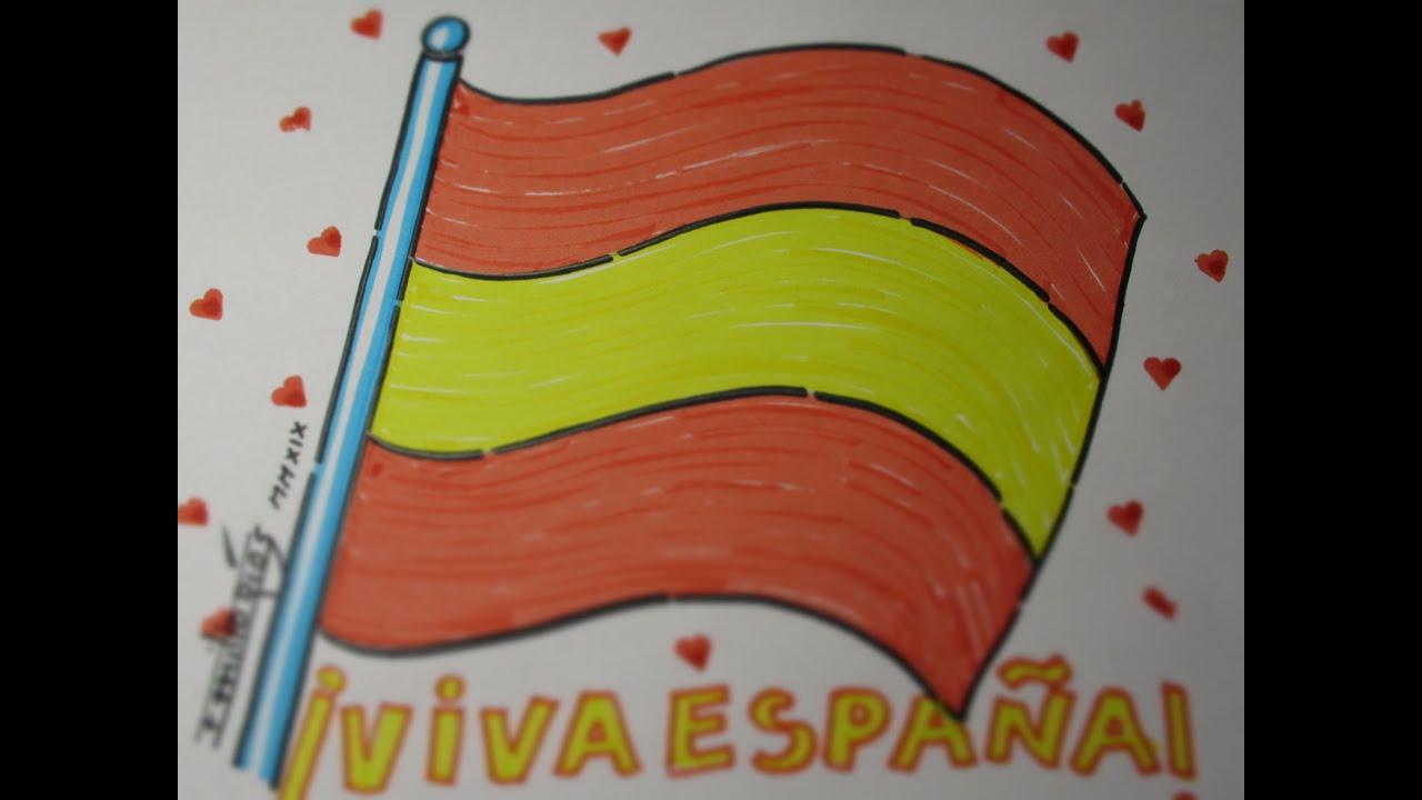 bandera de españa dibujo facil