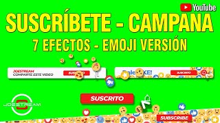 Green Screen Animated button, Suscríbete y Campana Versión Emoji - Pantalla Verde   | JOEStream
