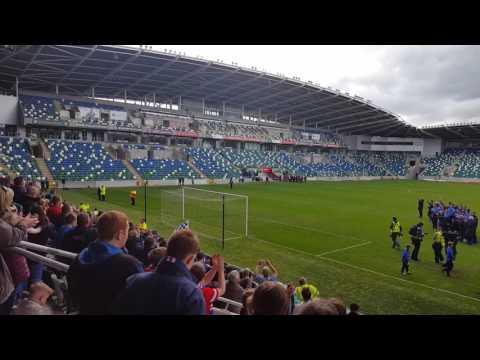 Linfield fc Irish league champions 2016/2017 . Players return to Windsor park!!