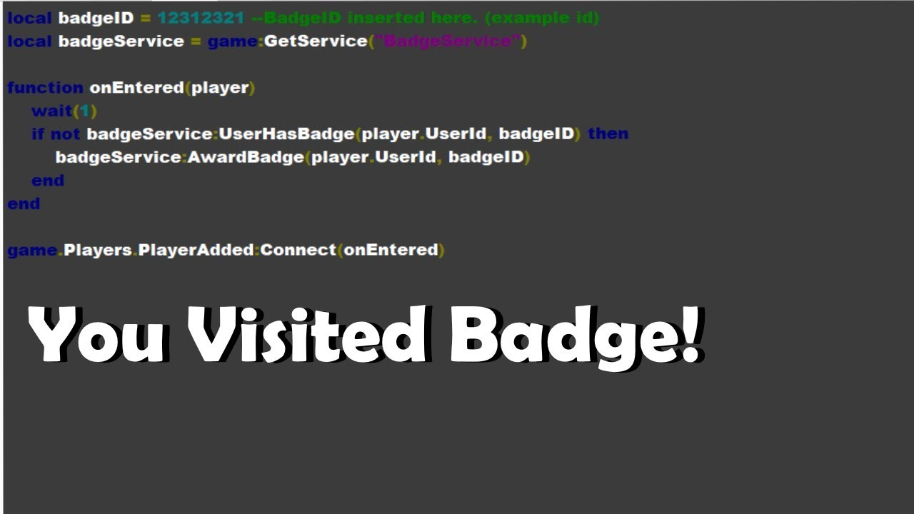 How To Make A You Visited Badge Roblox Tutorial Youtube