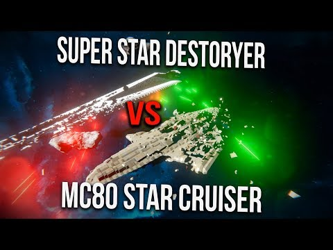 SUPER STAR DESTROYER VS LIBERTY STAR CRUISERs x3 (SPACE ENGINEERS BATTLE)