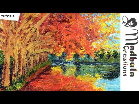 Landscape Painting – With ONLY Palette Knife – Art tutorial Acrylic Painting