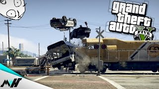 GTA 5 FUNNY MOMENTS & STUNTS - Gdy POCIĄG Spotka AUTOBUS [PC]