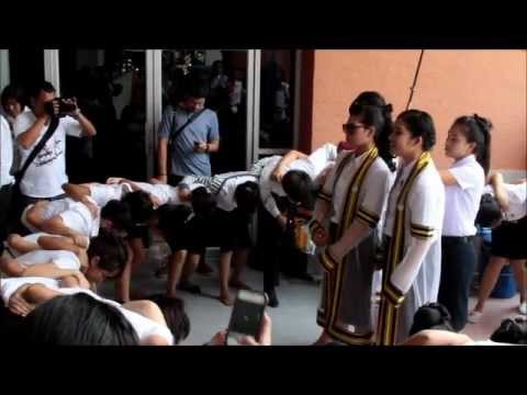Thai School girls doing dance and sing for RMUTT Graduation on 4-23-2012 Thailand
