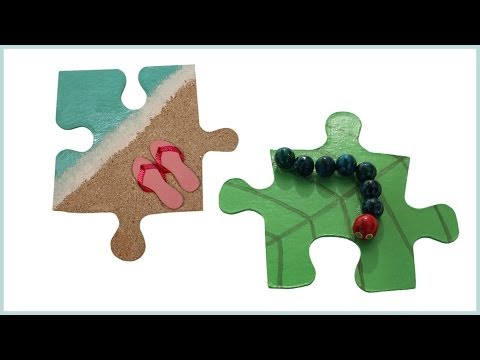 Make fridge magnets from puzzle pieces