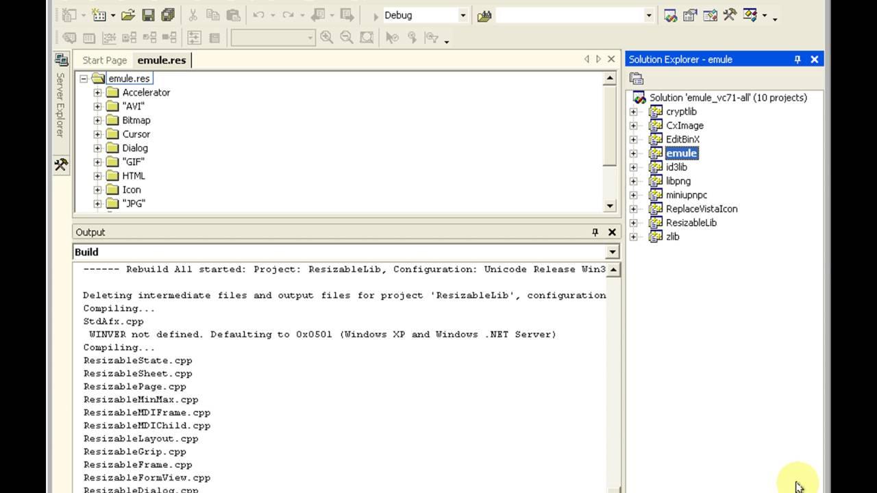 Compilar eMule 0 50a como Versión Formal (Release) con
