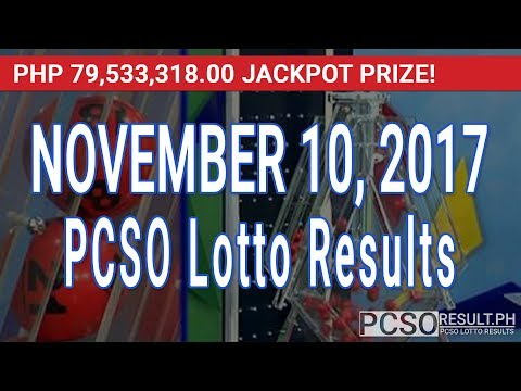 PCSO Lotto Results Today November 10, 2017 (6/58, 6/45, 4D, Swertres & EZ2)