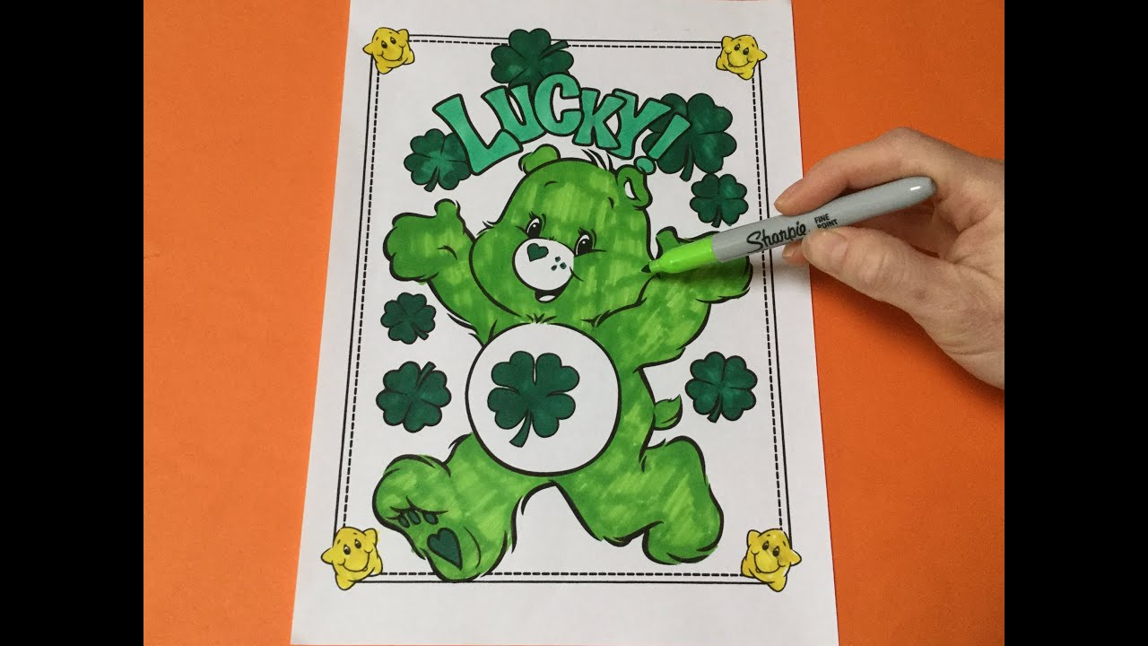 Let\'s Color Good Luck Bear! Care Bear Coloring Pages. Kids Coloring ...