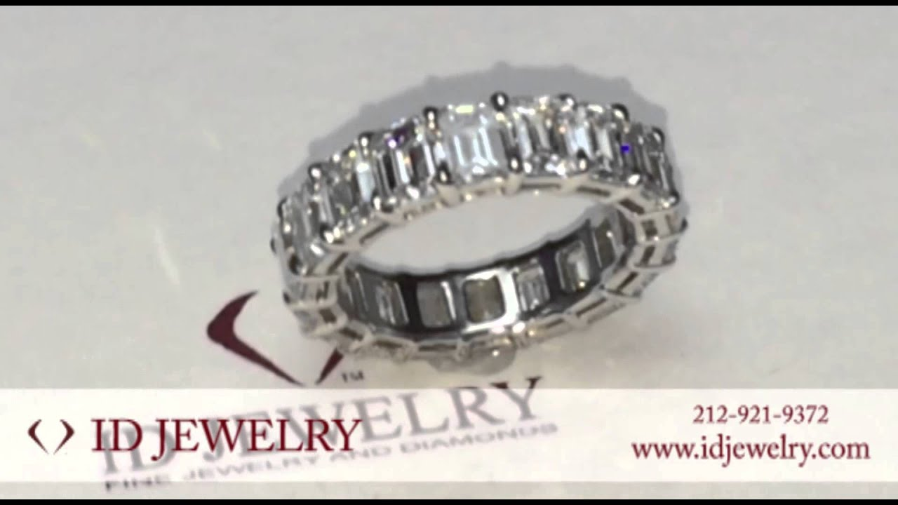 band ring solitaire shoulders set diamond trinity with eternity bands emerald cut product