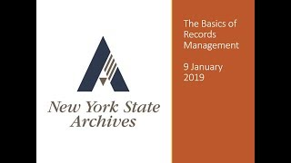 The Basics of Records Management Webinar