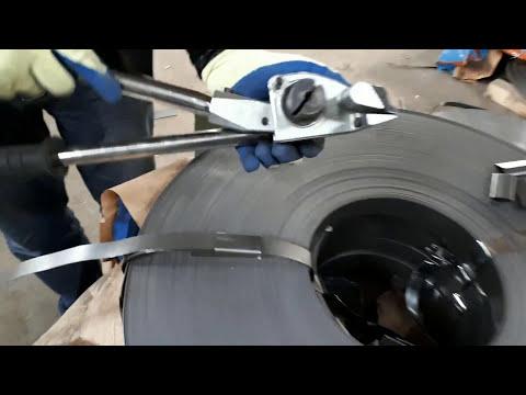 Упаковка стальной лентой 20х0,7 с использованием инструмента М4Н1 и М7С
