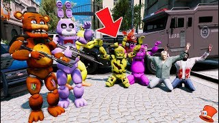 ANIMATRONIC COPS & ROBBERS! (GTA 5 Mods For Kids FNAF RedHatter)