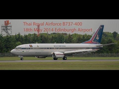 VM904 - Thai Royal Air Force B737-400 arrives Edinburgh Airport