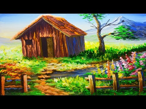 Acrylic Landscape Painting Lesson Barn House with River and Flowering Plants | Painting for Beginner