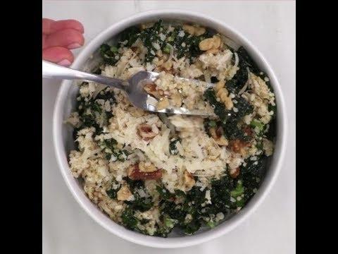 Kale Caesar Quinoa Salad with Roasted Chicken