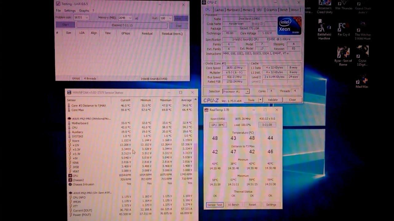 Разгон процессора Intel Xeon E5450 (Q9650) 3.87ГГц, 1.16В