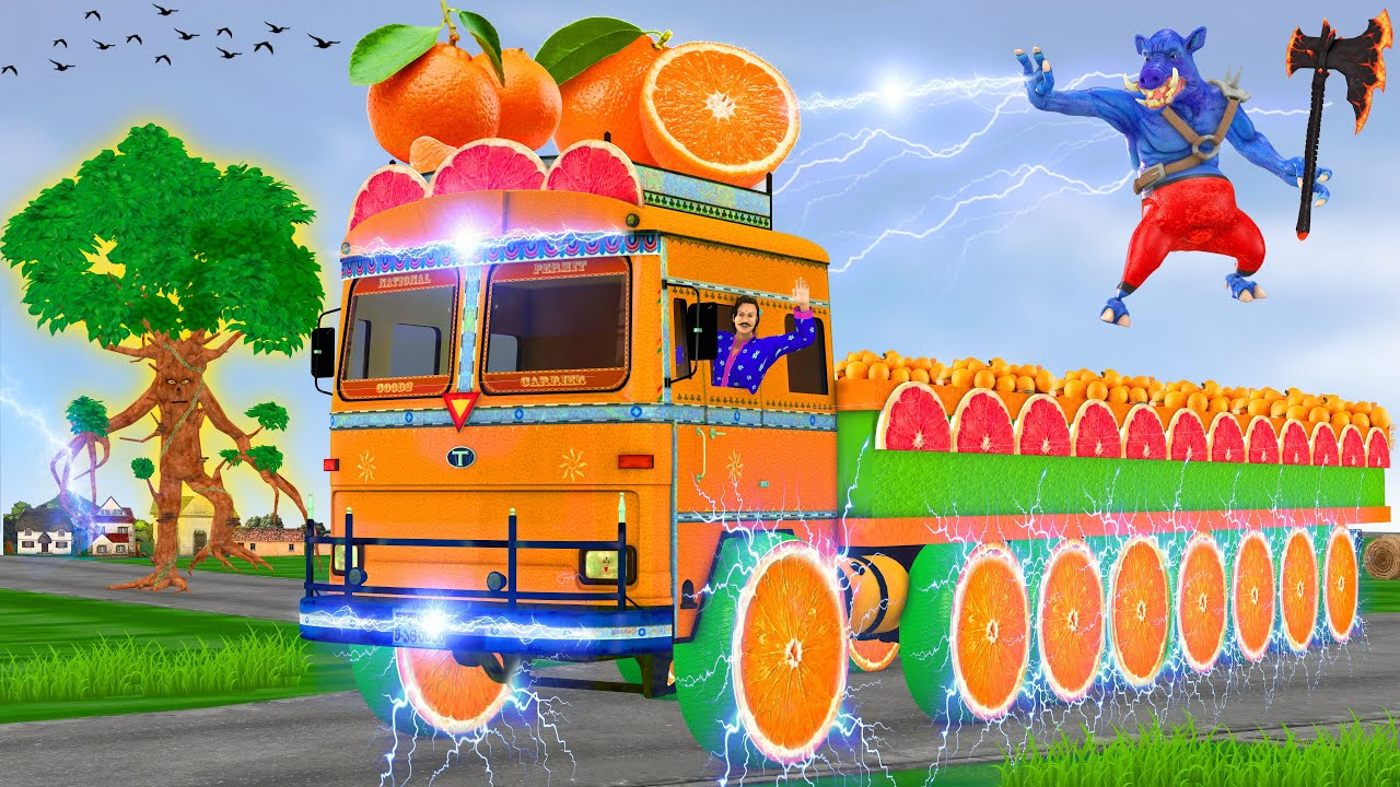 विशाल जादुई 8 पहियों वाला नारंगी ट्रक Giant Magical 8 Wheels Orange Truck Hindi Kahaniya कहानियां