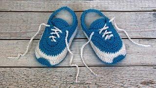 Пинетки кроссовки крючком | Кроссовки крючком для начинающих