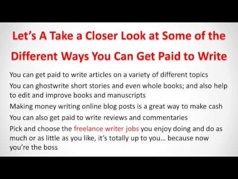 Make Money Writing Online with Freelance Writer Jobs
